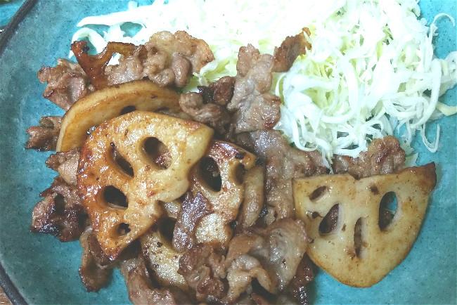 レンコンと豚肉